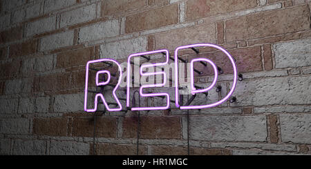 RED - Glowing Neon Sign on stonework wall - 3D rendered royalty free stock illustration.  Can be used for online - Stock Photo