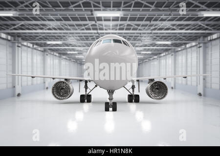 3d rendering airplane in hangar - Stock Photo