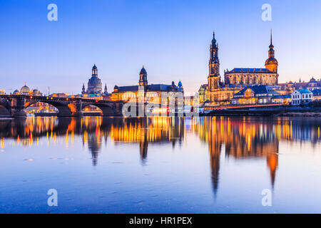 Dresden,  Germany.  Cathedral of the Holy Trinity or Hofkirche, Bruehl's Terrace - Stock Photo