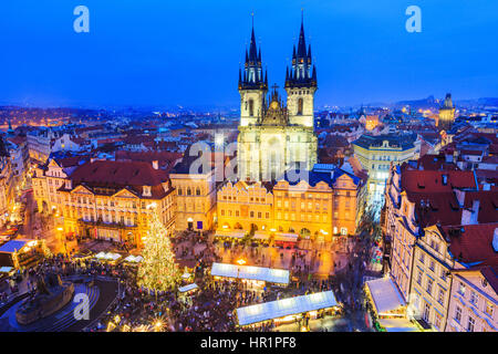 Prague, Czech Repubilc. Christmas market at Old Town Square. - Stock Photo