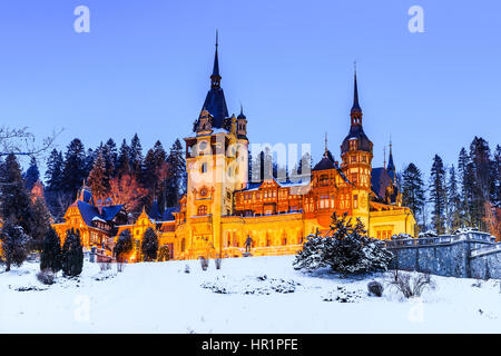 Peles Castle, Romania. Most famous royal castle of Romania in Sinaia. Prahova county. - Stock Photo