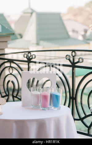 Glass vases with colour sand and frame like heart Stock Photo ...