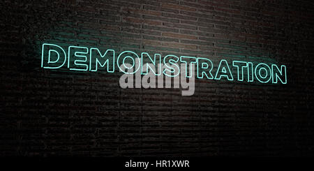 DEMONSTRATION -Realistic Neon Sign on Brick Wall background - 3D rendered royalty free stock image. Can be used - Stock Photo