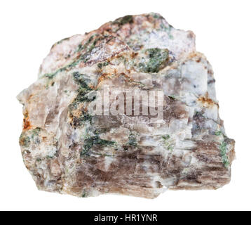 macro shooting of geological collection mineral - specimen of Delhayelite stone isolated on white background - Stock Photo