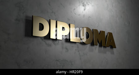 Diploma - Gold sign mounted on glossy marble wall  - 3D rendered royalty free stock illustration. This image can - Stock Photo