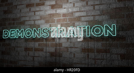 DEMONSTRATION - Glowing Neon Sign on stonework wall - 3D rendered royalty free stock illustration.  Can be used - Stock Photo