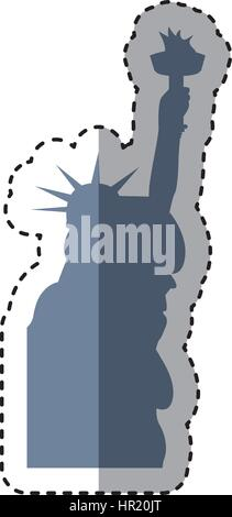liberty statue silhouette isolated icon - Stock Photo