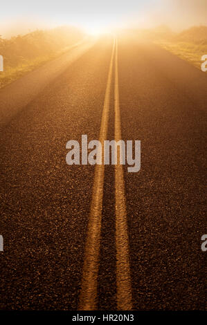 Backroad leading into bright light at sunrise - Stock Photo