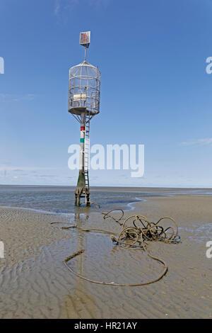 Refuge beacon, North Sea, Wadden Sea, Cuxhaven, Germany, Europe - Stock Photo