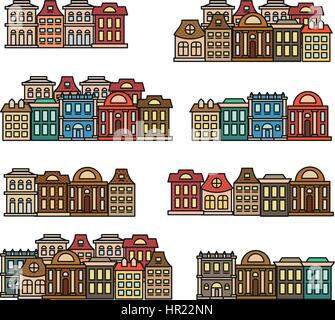 Isolated colorful low-rise houses,city elements vector illustrations set, municipal buildings icons collection. - Stock Photo