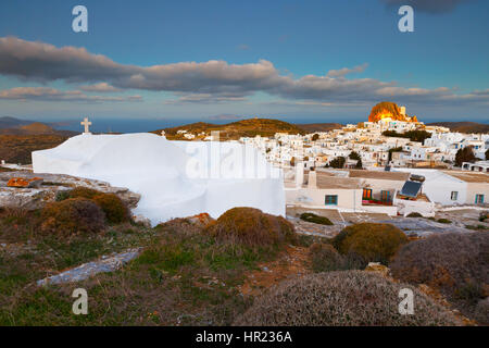 Chora of Amorgos island early in the morning. - Stock Photo