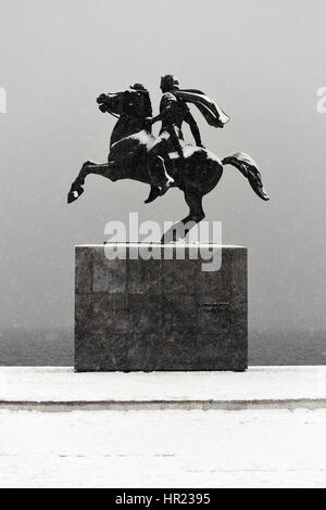 Alexander the Great Statue under Snowfall in Thessaloniki - Stock Photo