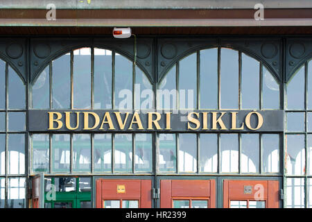 Facade Detail of the Budapest Castle Hill Funicular Station (Budavari Siklo) - Stock Photo