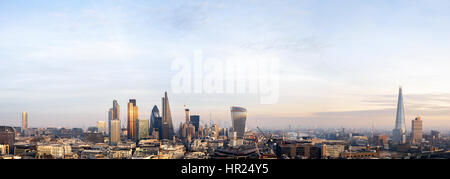 UK, London, Aerial city skyline panorama with view of the Shard, Tower Bridge, the financial district and Canary Wharf