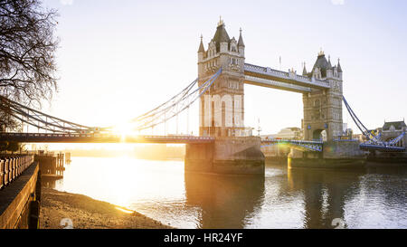 Panoramic view of the Thames and Tower Bridge at sunrise, London, UK - Stock Photo