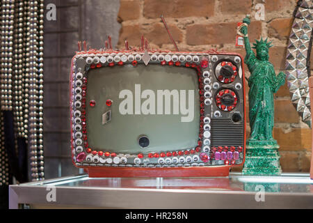 A vintage decorated television set inside Trash & Vaudeville, a unique clothing Store in the East Village, New York - Stock Photo