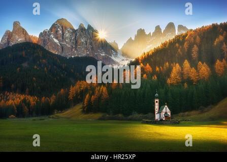St Johann Church, Santa Maddalena, Val Di Funes, Dolomites, Italy - Stock Photo