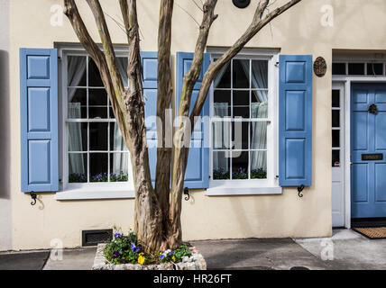 Beautiful vintage home with Robins egg blue window Storm shutters and door in Charleston, South Carolina, USA, spring - Stock Photo
