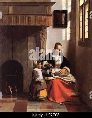 Pieter de Hooch - A Woman Peeling Apples - Stock Photo