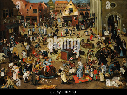 Pieter Brueghel the Younger, The Battle Between Carnival and Lent. Oil on oak panel. Sothey's - Stock Photo