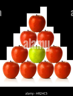 red apples on a pyramid shape over a white background - Stock Photo