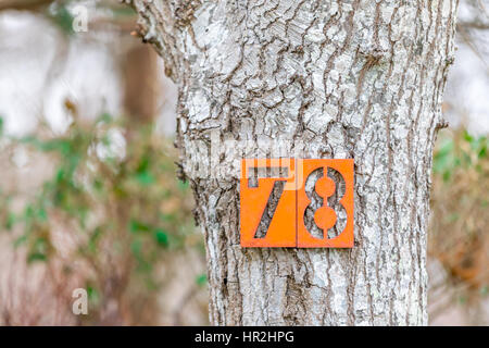 house number, 78 on a tree on the side of a road - Stock Photo
