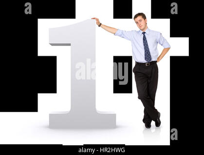 number one with a business man next to it - isolated over a white background - Stock Photo