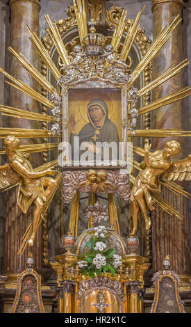 TRNAVA, SLOVAKIA - OCTOBER 14, 2014: The baroque altar of Virgin Mary in St. Nicholas church and Virgin Mary chapel - Stock Photo