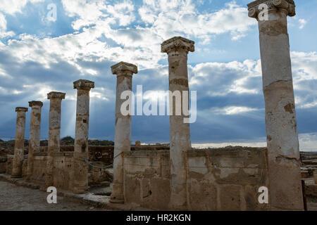 Roman columns around the forum, House of Theseus, Paphos Archaeological Park, Cyprus - Stock Photo