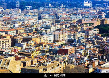 Skyline of Rome city, Italy - Stock Photo