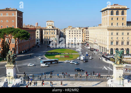 View of Piazza Venezia, towards Via del Corso, from the Monument to Vittorio Emanuele, Rome, Italy - Stock Photo