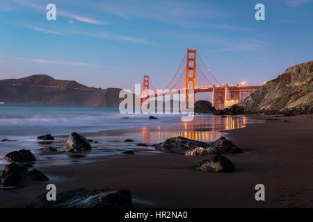 Golden Gate Bridge from Marshall's Beach - Stock Photo