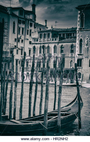 Black and white vintage image of the city of Venice, Italy, Europe - Stock Photo