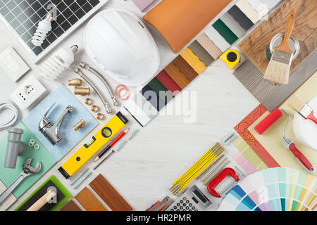 Do it yourself  home renovation and construction concept with DIY  tools  hardware and swatches. Do It Yourself  Home Renovation And Construction Concept With Diy
