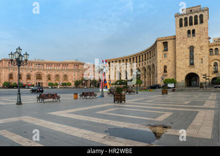 Republic Square in the morning, Yerevan, Armenia, Caucasus, Middle East, Asia - Stock Photo