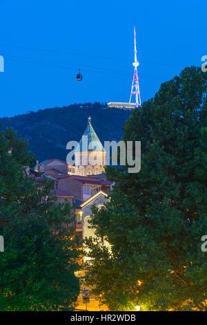 Saint George Church at night, Tbilisi, Georgia, Caucasus, Middle East, Asia - Stock Photo