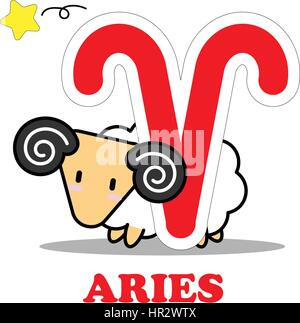 Aries cartoon with Big Zodiac sign icon vector isolated on white background - Stock Photo