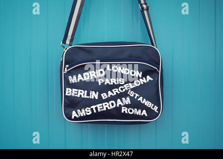 Capital Cities on Blue Bag,Travel concept. - Stock Photo
