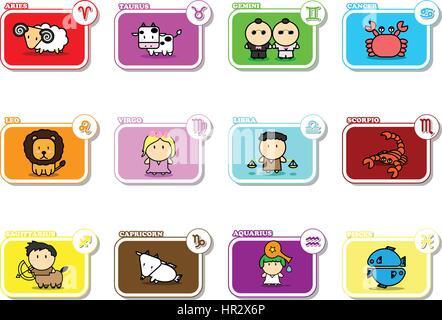 Twelve Colorful cartoon zodiac signs symbol icon vector horoscope on white background - Stock Photo