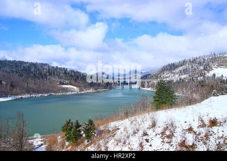 Bajer bridge motorway over lake Bajer in Fuzine, Gorski kotar, Croatia - Stock Photo