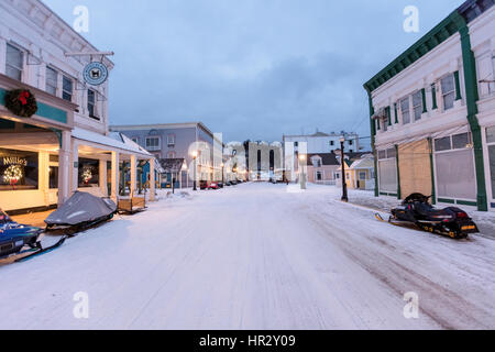 Mackinac Island is a city in Mackinac County in the U.S. state of Michigan. Photographed in the winter with snow - Stock Photo