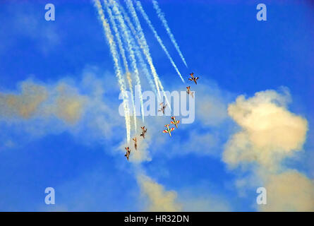 The Italian National Aerobatic Team 'Frecce Tricolori' in training in the skies of the Adriatic Sea - Stock Photo