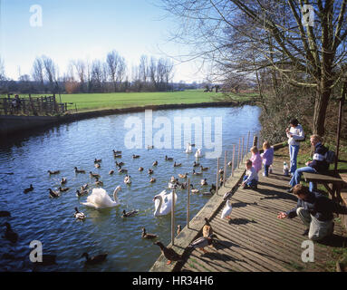 Children feeding ducks on River Stour, Flatford Mill, East Bergholt, Suffolk, England, United Kingdom - Stock Photo