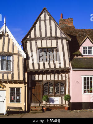 Half-timbered medieval cottages, High Street, Lavenham, Suffolk, England, United Kingdom - Stock Photo