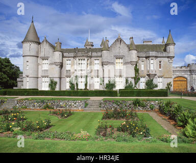 Balmoral Castle and gardens, Royal Deeside, Aberdeenshire, Scotland, United Kingdom - Stock Photo