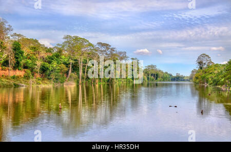 Moat surrounding Angkor Thom in Siem Reap, Cambodia - Stock Photo