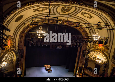 Broadway theater stage with piano. - Stock Photo