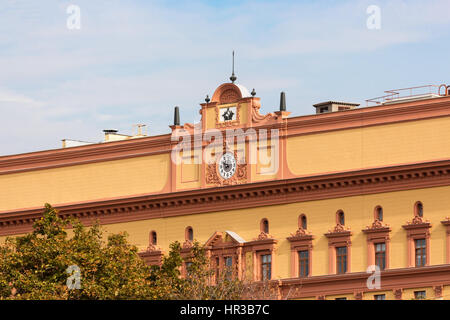 Closeup of the Lubyanka Building, former KGB headquarters in Moscow, Russia. - Stock Photo