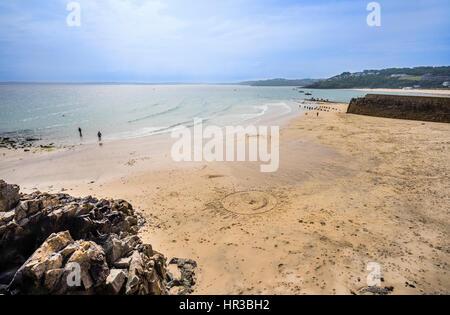 United Kingdom, Cornwall, view of Bamaluz Beach, St Ives - Stock Photo