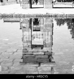 Temple of Debod in Madrid reflects in pond, Spain. Black and white image - Stock Photo